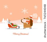 christmas card  santa dog with... | Shutterstock .eps vector #765244048