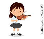 little girl playing violin | Shutterstock .eps vector #765245413