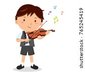 little boy playing violin | Shutterstock .eps vector #765245419