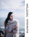 portrait of brunette long hair... | Shutterstock . vector #765257164