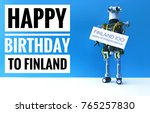 robot holding sign with text... | Shutterstock . vector #765257830