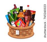 wicker holiday present basket... | Shutterstock .eps vector #765260323