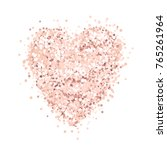 Stock vector heart of pink gold glitter on a white background template for banner card save the date 765261964