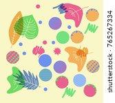 autumn theme  leaves  scribbles ... | Shutterstock .eps vector #765267334