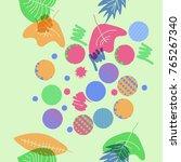 autumn theme  leaves  scribbles ... | Shutterstock .eps vector #765267340