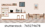 Empty cafe interior with bar stand,table and armchairs. Flat design vector illustration | Shutterstock vector #765274678