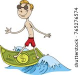 a happy cartoon man surfing a... | Shutterstock .eps vector #765276574