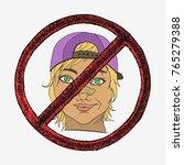 rude girl with broken nose.... | Shutterstock .eps vector #765279388