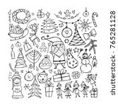 christmas set  sketch for your... | Shutterstock .eps vector #765281128