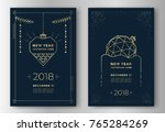 new year greeting card design... | Shutterstock .eps vector #765284269