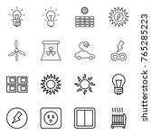 thin line icon set   bulb  sun... | Shutterstock .eps vector #765285223