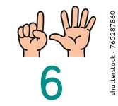 kid's hand showing the number... | Shutterstock .eps vector #765287860