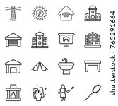 thin line icon set   lighthouse ... | Shutterstock .eps vector #765291664