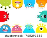 Stock photo monster frame cute cartoon scary character set different emotion baby collection white 765291856