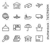 thin line icon set   plane ... | Shutterstock .eps vector #765296044