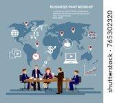 set of business people working... | Shutterstock .eps vector #765302320