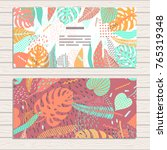 set of cards on tropical jungle ... | Shutterstock .eps vector #765319348