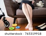 working mum at home on lounge... | Shutterstock . vector #765319918
