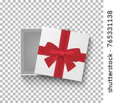 open gift box with red bow and... | Shutterstock .eps vector #765331138