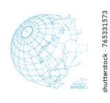 broken wireframe sphere.... | Shutterstock . vector #765331573