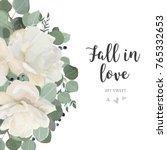 floral card design with garden... | Shutterstock .eps vector #765332653