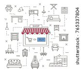 set of line icons of online... | Shutterstock .eps vector #765337804
