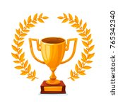 golden trophy cup. first place... | Shutterstock .eps vector #765342340
