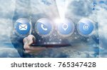 button contacts us shows a... | Shutterstock . vector #765347428