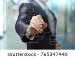 man drawing flowchart ....   Shutterstock . vector #765347440