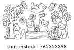 Stock vector hand drawn cute cats playing with butterfly in the forest for design element and coloring book page 765353398