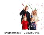 family blowing party trumpets... | Shutterstock . vector #765360448