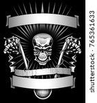 skull biker skeleton riding... | Shutterstock . vector #765361633
