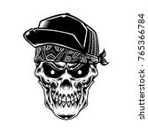 the skull head wearing bandana... | Shutterstock .eps vector #765366784