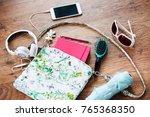smartphone sunglasses...   Shutterstock . vector #765368350