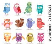 owls vector cartoon cute bird... | Shutterstock .eps vector #765370258