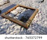 empty children s sand pit in...   Shutterstock . vector #765372799