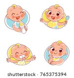 happy smiling newborn boy or... | Shutterstock .eps vector #765375394