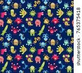 funny little monsters. seamless ... | Shutterstock .eps vector #765375418