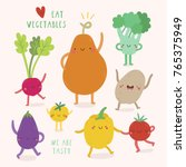 super cute vegetables... | Shutterstock .eps vector #765375949