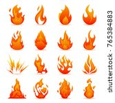 vector set of fire and flame... | Shutterstock .eps vector #765384883