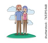 couple in watercolor silhouette ... | Shutterstock .eps vector #765391468
