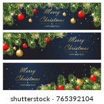 christmas and new year banners... | Shutterstock .eps vector #765392104