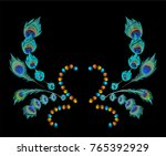 peacock feather color... | Shutterstock .eps vector #765392929