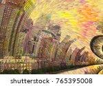 new york skyline warped space....   Shutterstock . vector #765395008