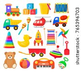 baby toy set. cute object for... | Shutterstock .eps vector #765396703