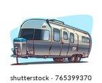 classic camper. cartoon ... | Shutterstock .eps vector #765399370
