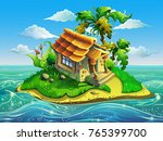island with little house in the ... | Shutterstock .eps vector #765399700