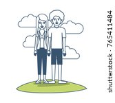 couple in color sections... | Shutterstock .eps vector #765411484