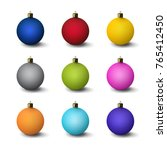 a set of christmas decorations. ... | Shutterstock .eps vector #765412450