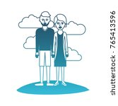 couple in degraded blue... | Shutterstock .eps vector #765413596